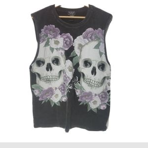 Midnight tour skull bro tank floral xl top grey